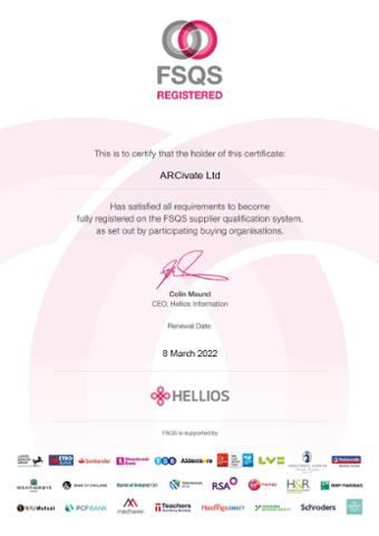 Arcivate FSQS Certificate 2021