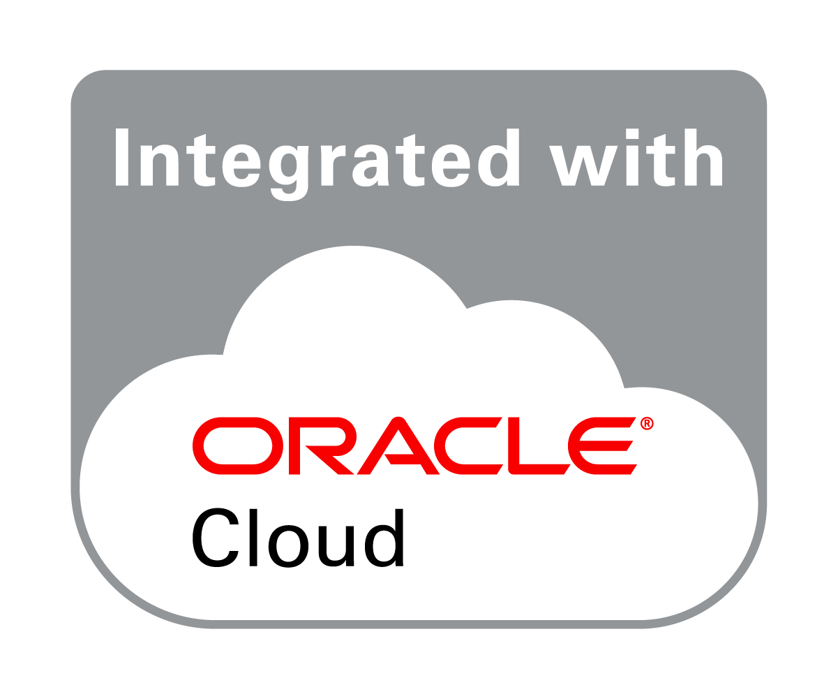 Oracle Integrated with-Cloud Badge enabling connectivity with Oracle ERP Cloud, EBS, JDE and PeopleSoft