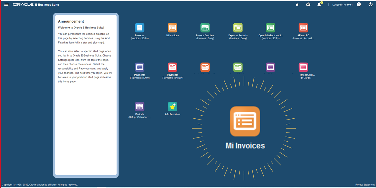 How Integrated is your invoice automation platform? The new EBS R12 Web User favorites dashboard. with direct access to Mi Invoices