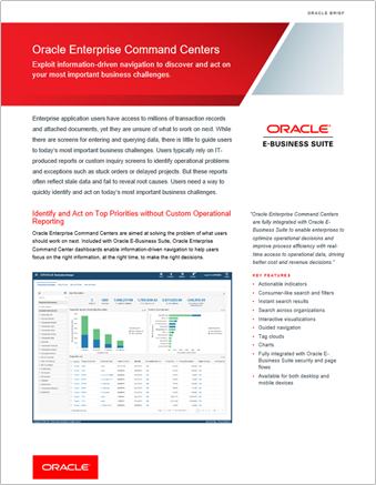 Oracle EBS Enterprise Command Centers Module datasheet